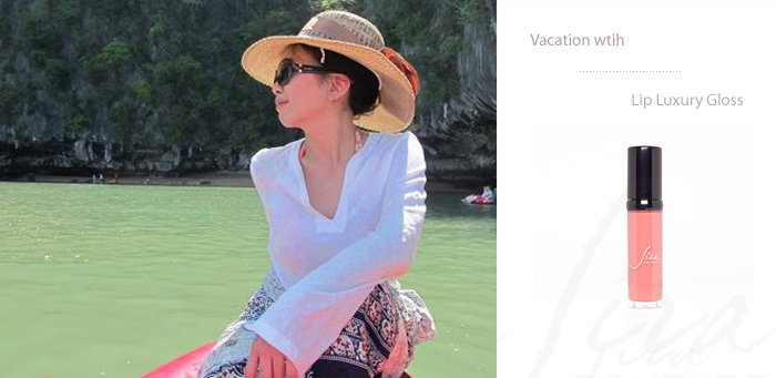 vacation with Jira Couture lip gloss