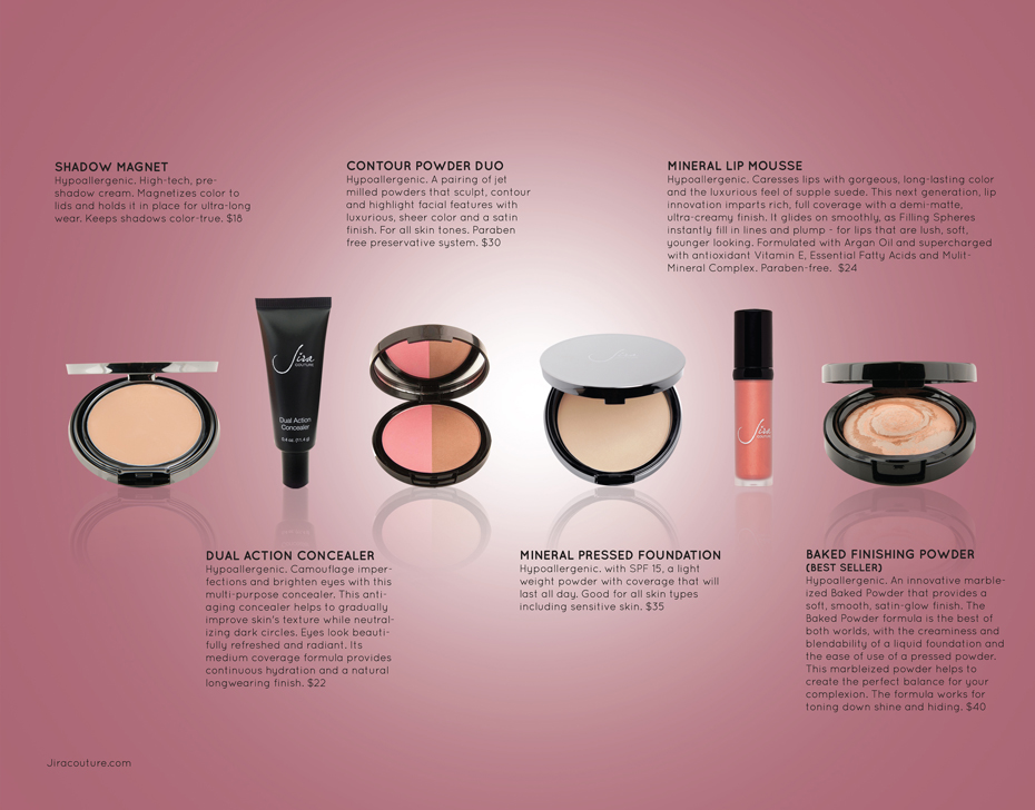 Hypoallergenic, Anit aging, Meniral cosmetics