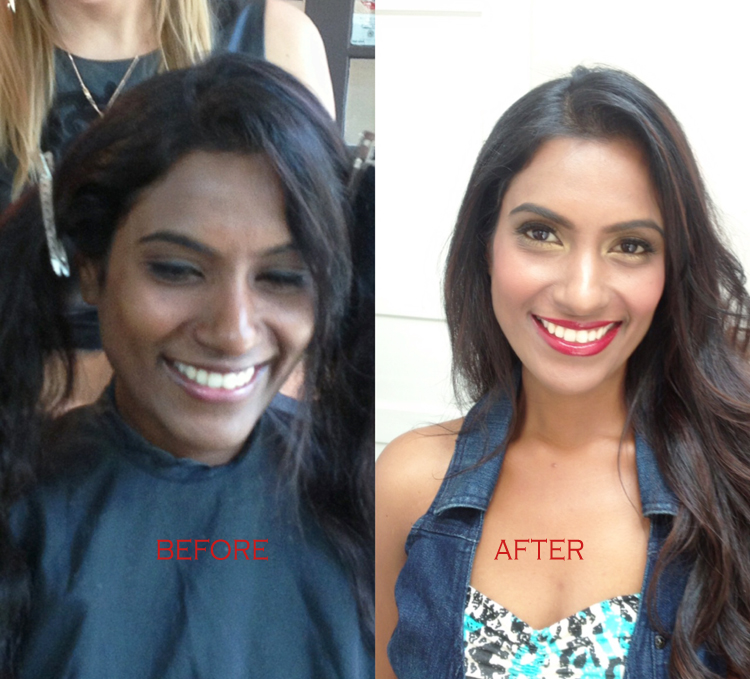 Transformation makeup hair