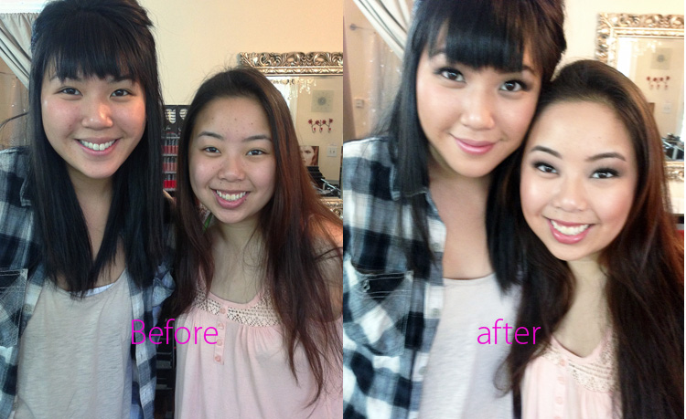 makeup lesson before and afterphoto