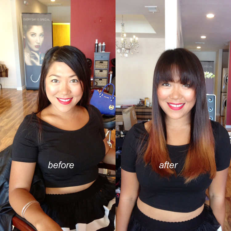 hair cut color before after picture