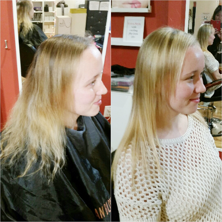 Before And After A Cut Color Highlights Brazilian Blowout San